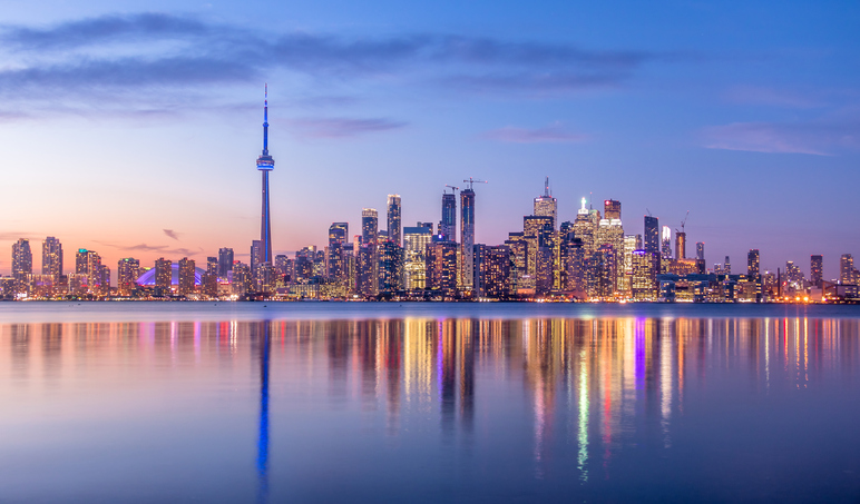 Toronto Skyline With Purple Light Toronto Ontario